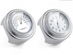 Chromované moto hodinky a teplomìr na øídítka,èerné,bílé.