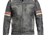 Ultimate Vintage kožená moto bunda retro šedá