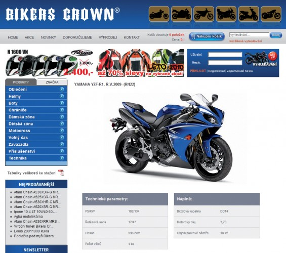 Pùjèovna a nový eshop Bikers Crown