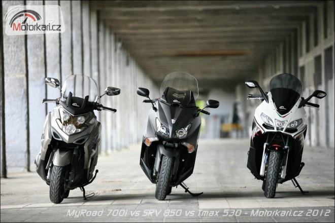 Kymco MyRoad 700 vs Yamaha Tmax 530 vs Aprilia SRV 850
