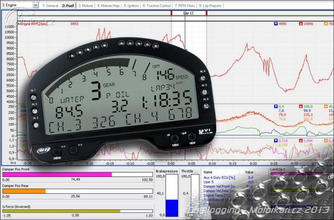 Datalogging – záznam dat z jízdy