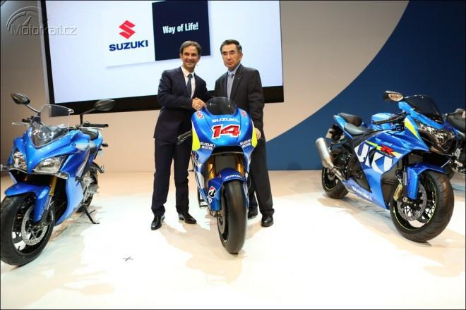 Suzuki MotoGP v roce 2015 s Espargarem a Viòalesem